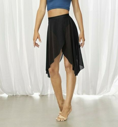 BLOCH Ladies Sheer Dance Wrap Skirt Mid Length Open Front and Back Black